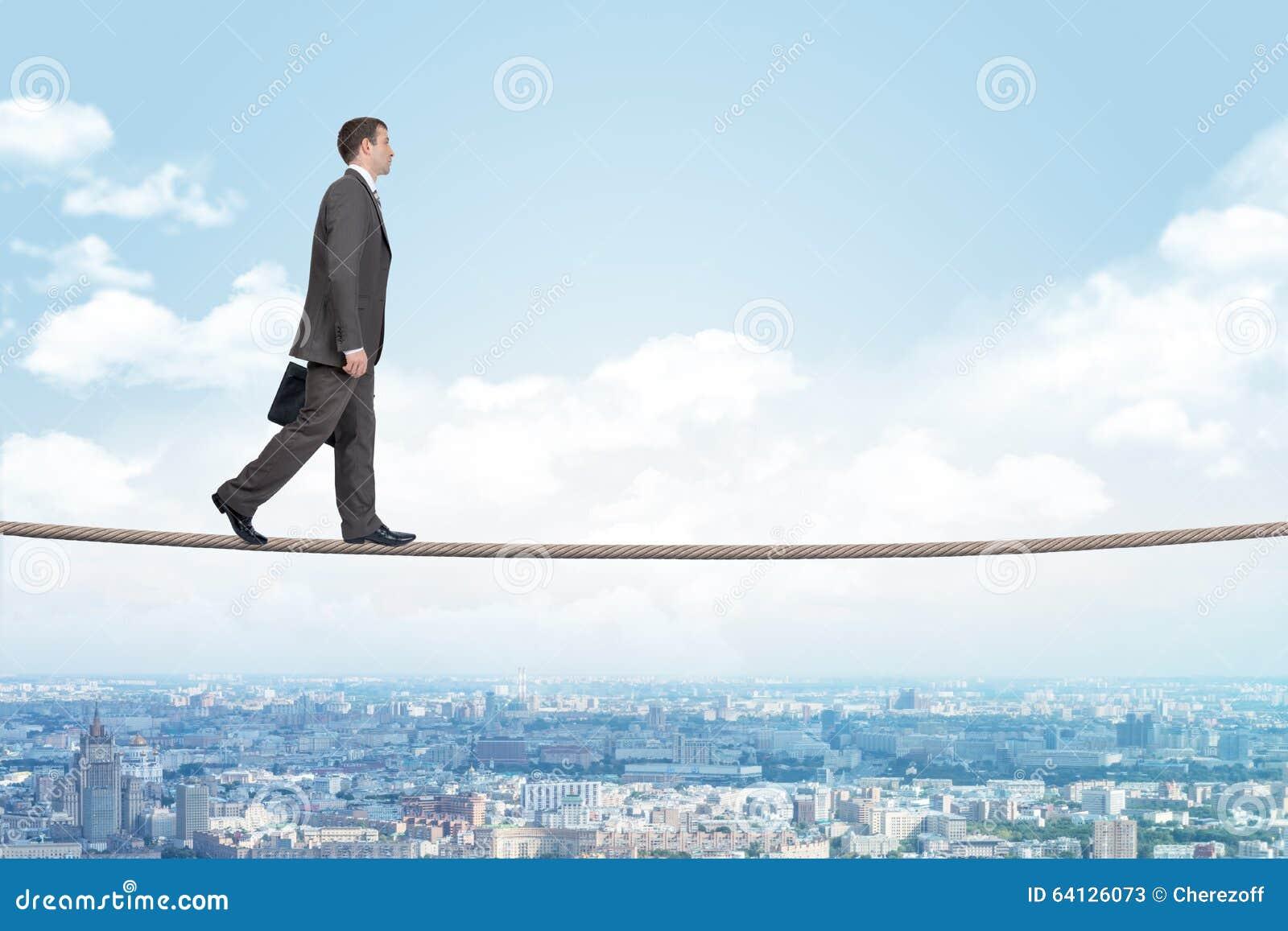 Businessman Walking On Rope Stock Photo Image 64126073