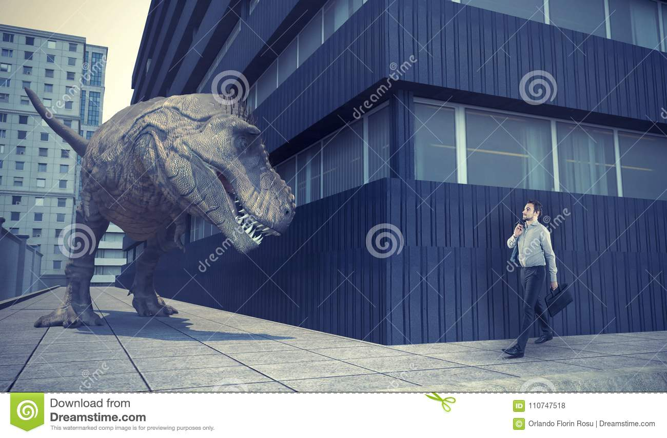 Businessman walking in town and a dinosaur