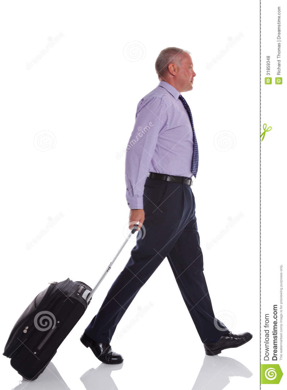 Businessman Walking With Travel Suitcase. Royalty Free Stock Photos ...