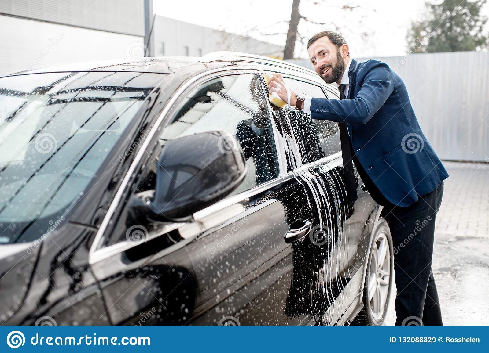 Businessman Washing His Car Stock Image Image Of Equipment Soap