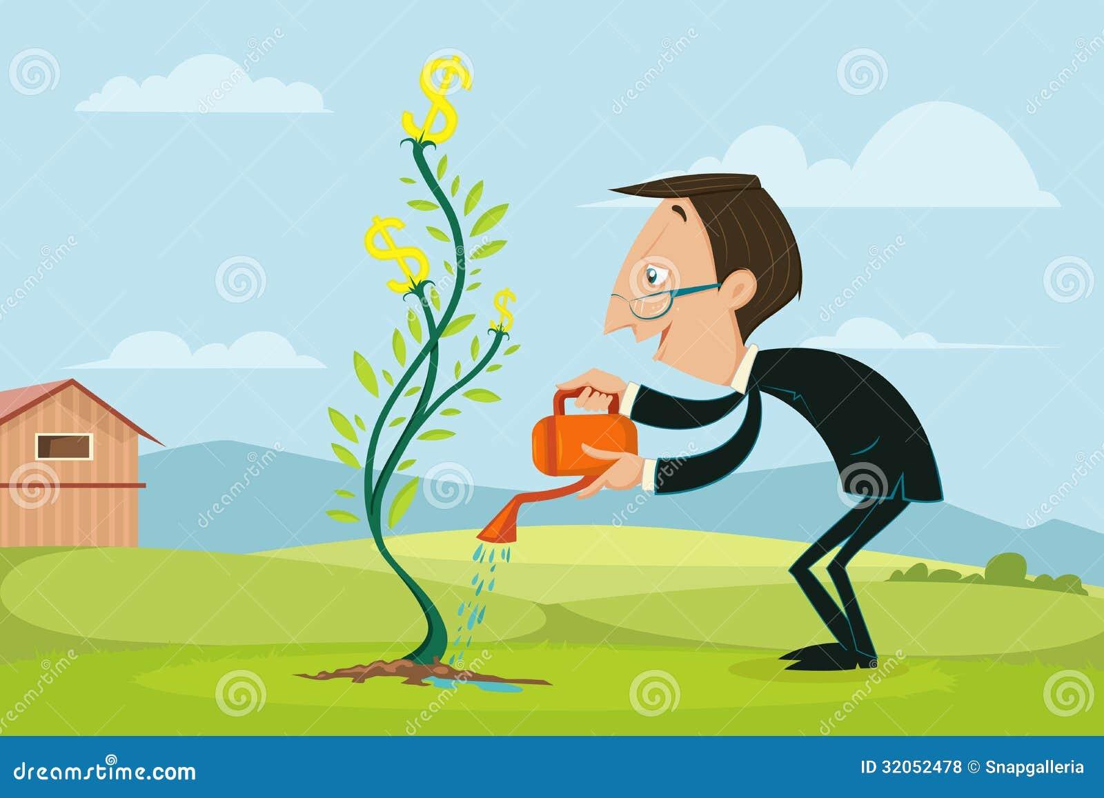 Businessman Watering Dollar Plant Stock Vector Image