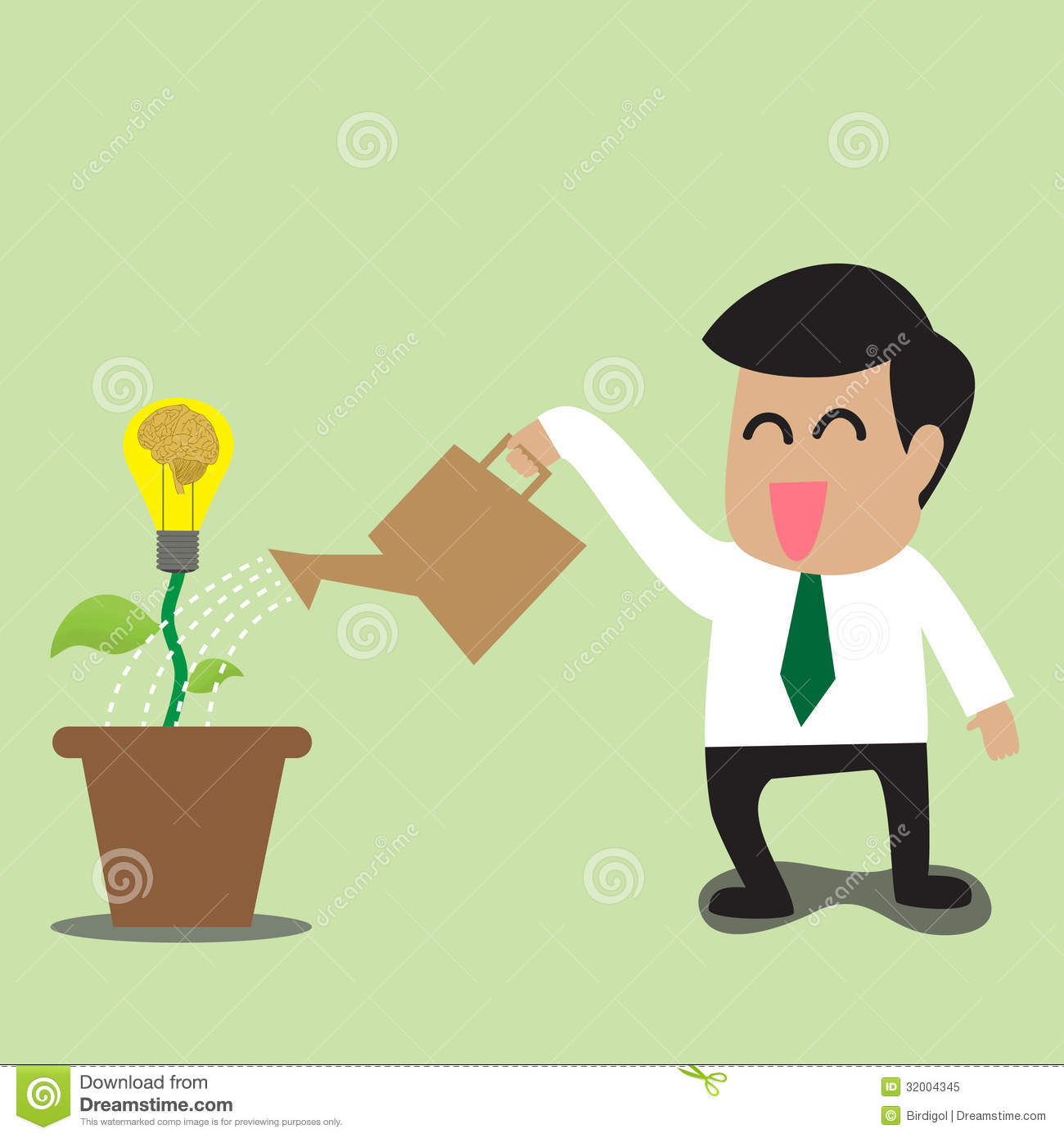 Businessman Watering A Light Bulb Idea Plant Royalty Free