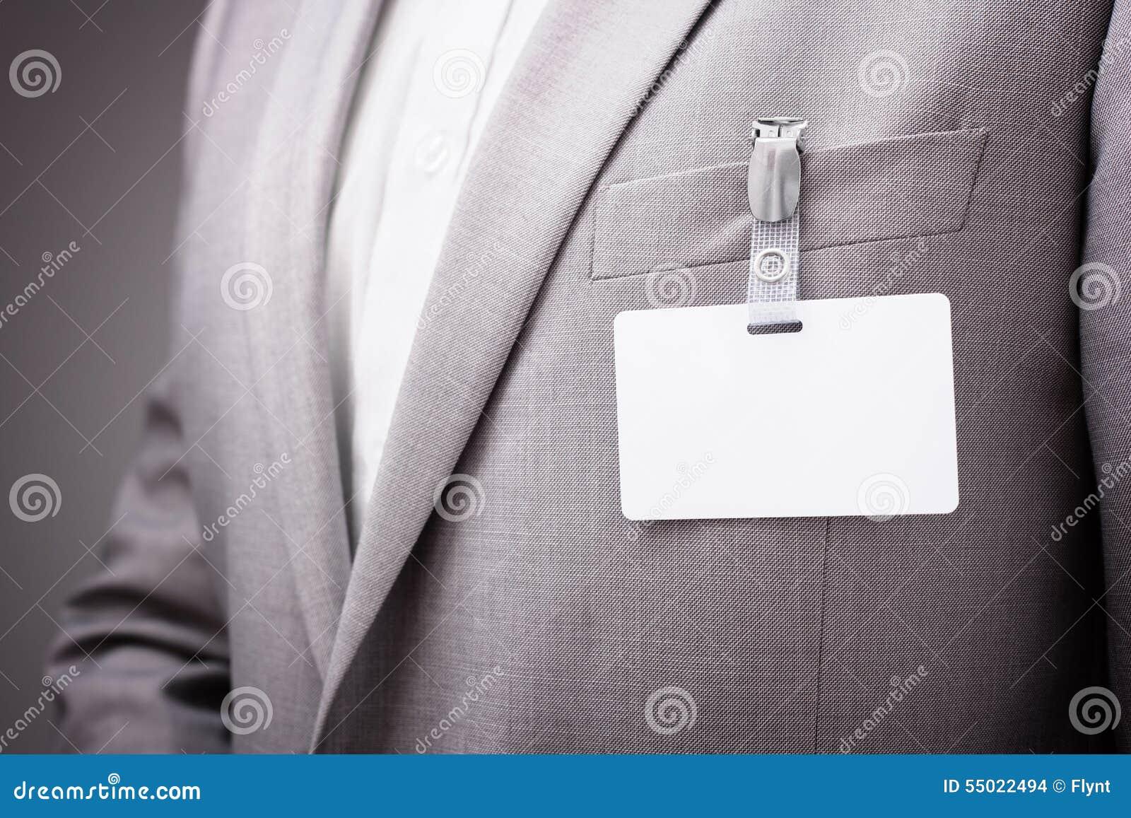 Businessman Wearing Blank Name Tag Stock Photo Image