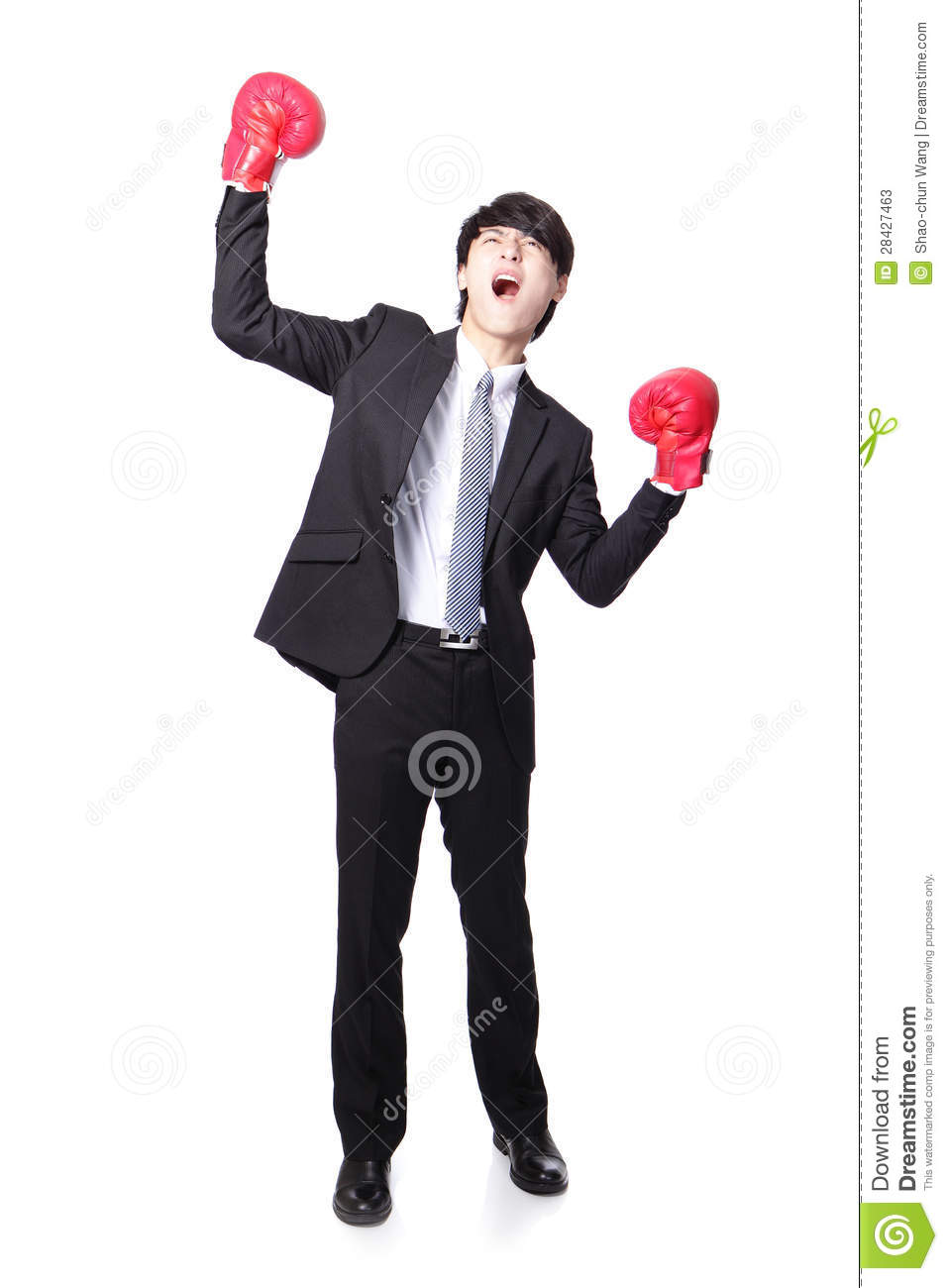 Businessman Wearing Boxing Gloves In A Victory Pose And