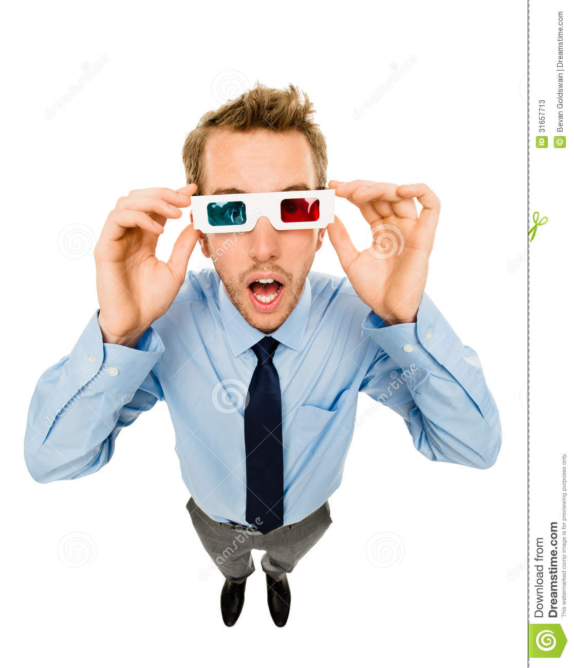 Asian Businessman Watching Movie In 3D Glasses Cartoon