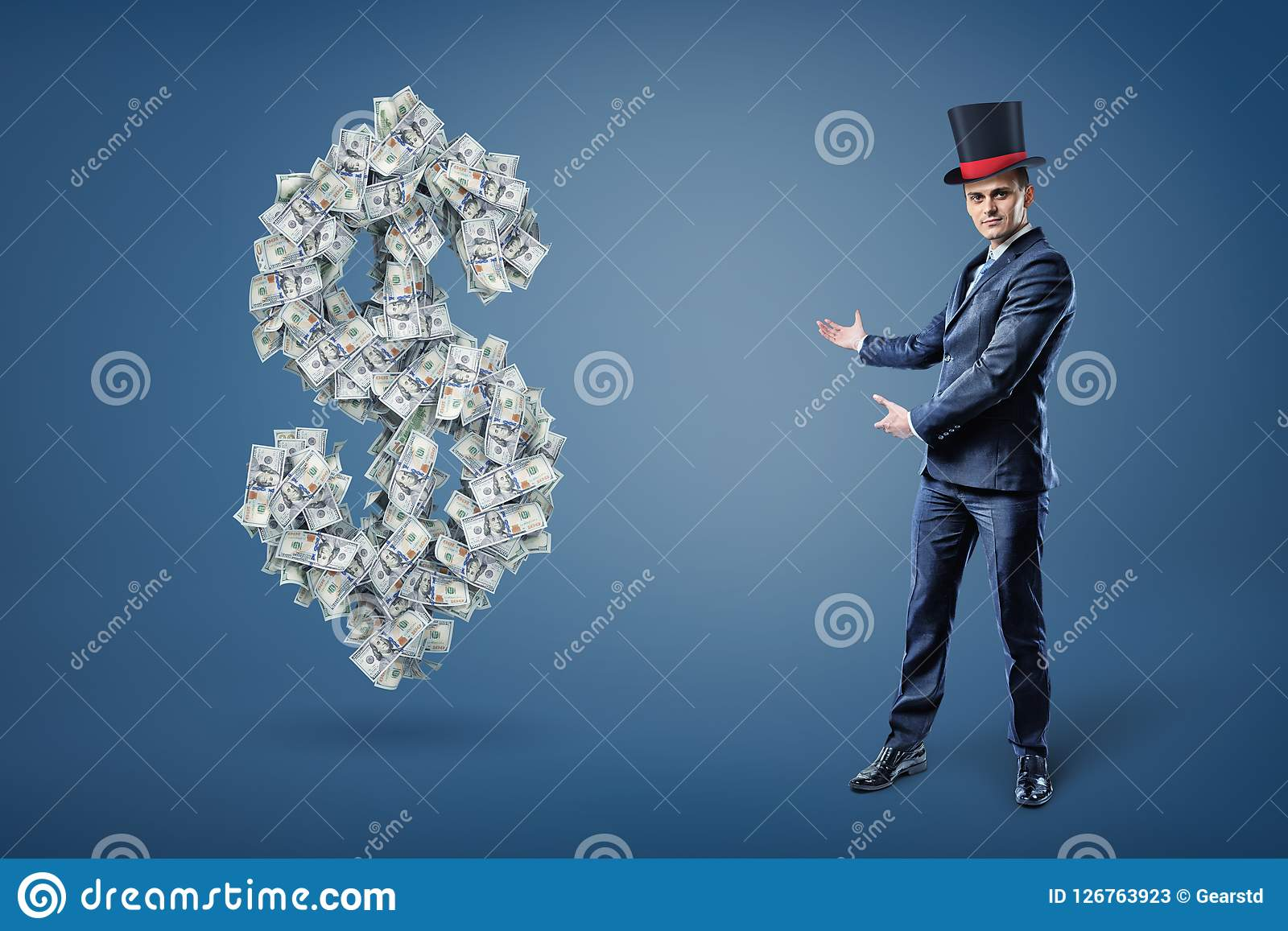 A businessman wearing a magician`s hat and presents a large dollar sign made of many bills. Money and prosperity. Easy money. Get rich with simple trick Royalty Free Illustration