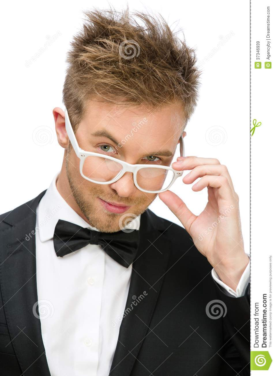 businessman wearing white frame glasses