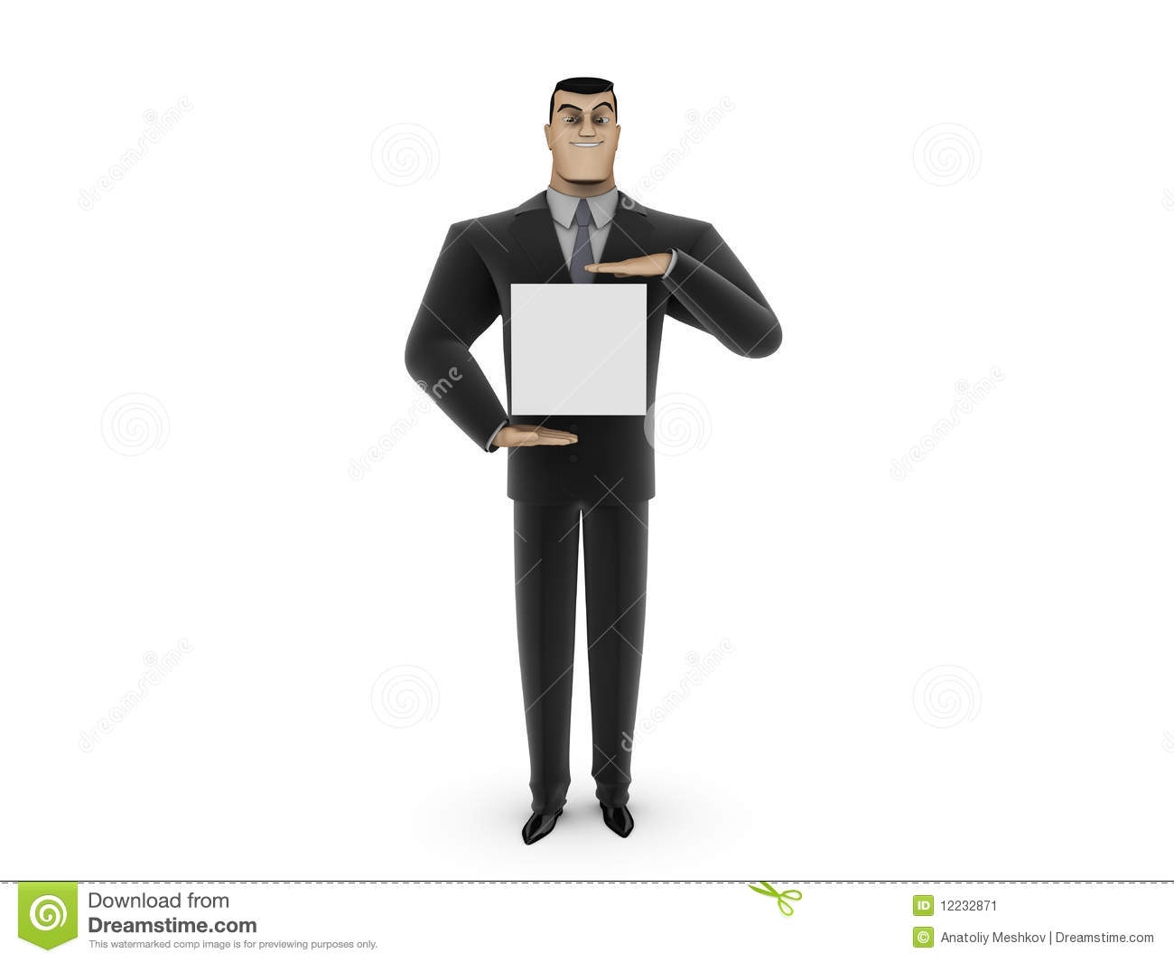 Businessman and white panel