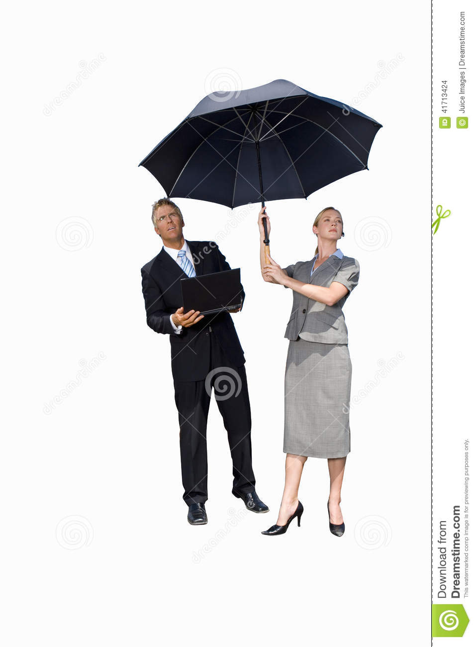 businessman and woman with umbrella man with laptop computer cut