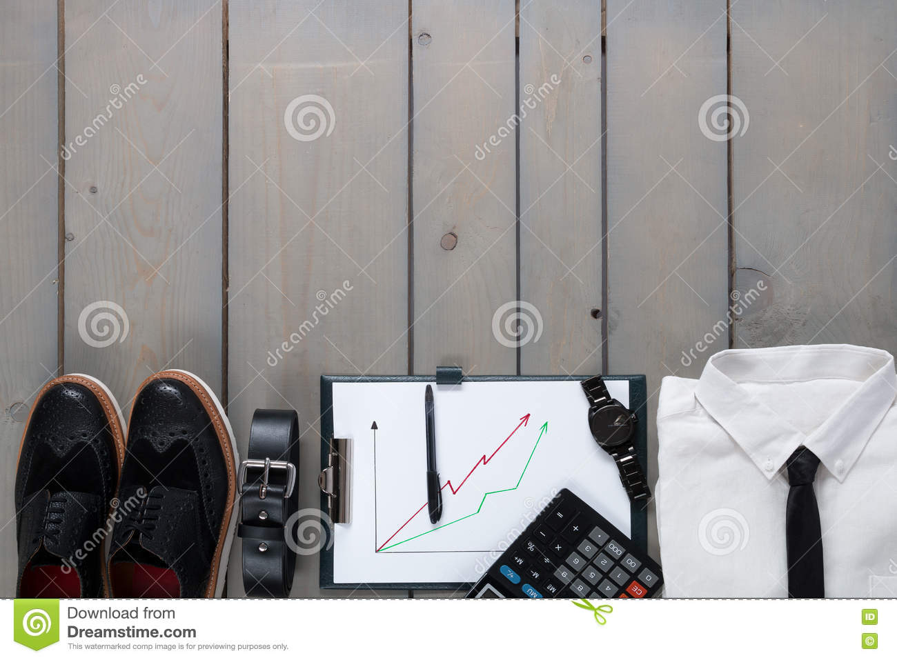 Businessman Work Outfit On Grey Wooden Background White Shirt With How To Diagram Of Tie Shoes Black Watch