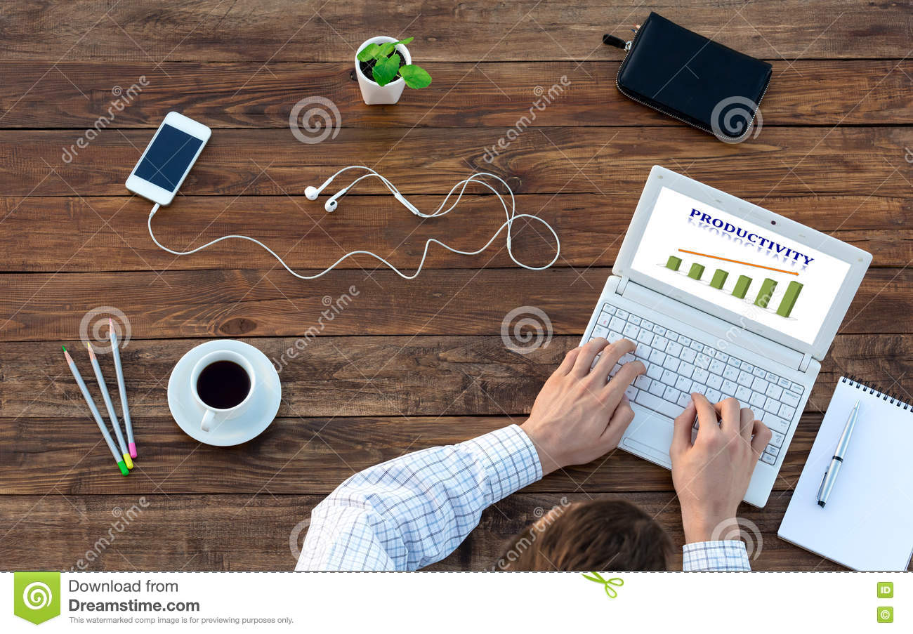 Download Businessman Working On Computer At Vintage Wood Table Top View  Stock Photo   Image Of