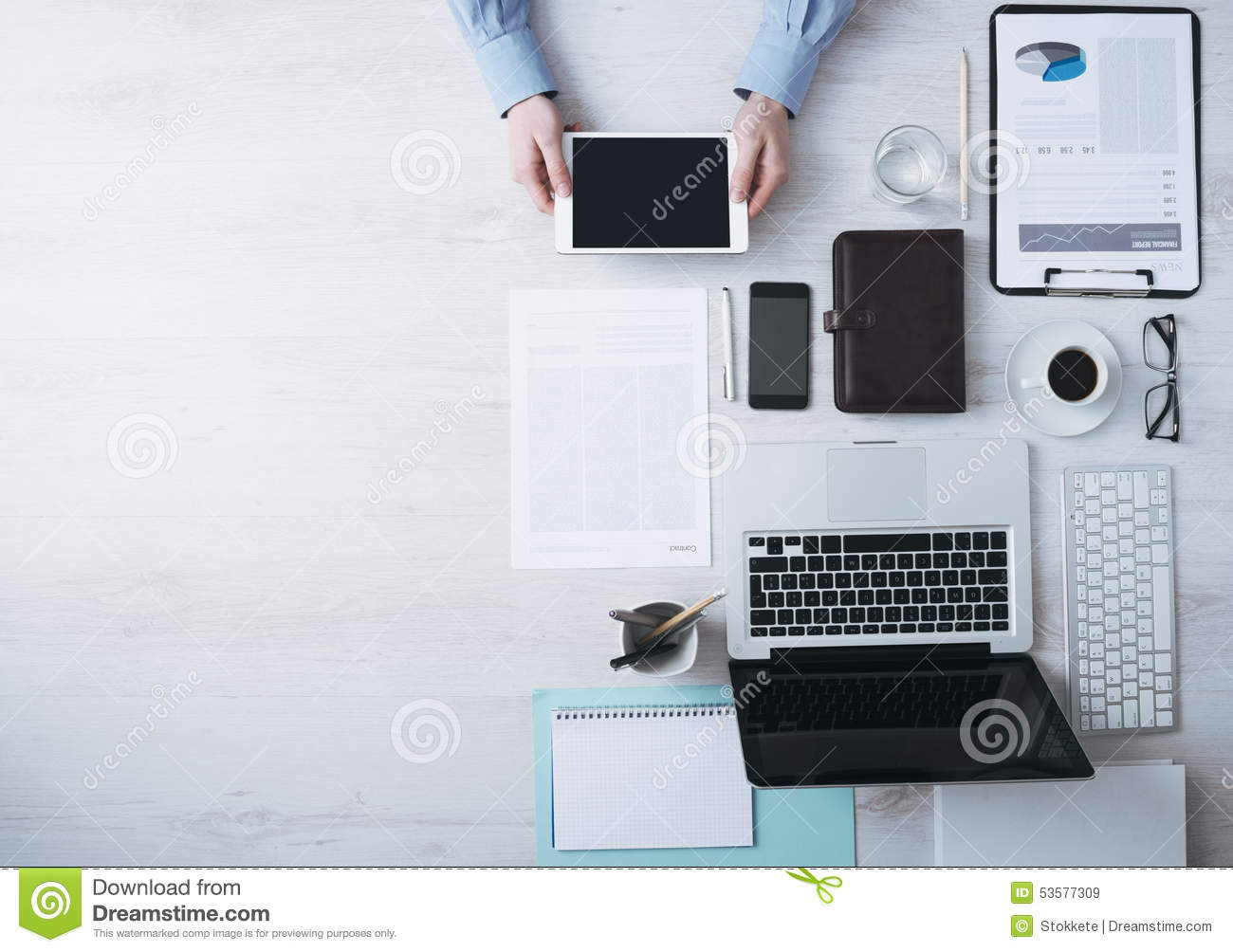 designer office desk isolated objects top view. Designer Office Desk Isolated Objects Top View. Businessman Working At With A Digital Tablet View E