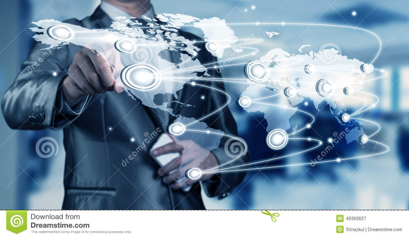 Businessman Working With Digital Object, Business ...