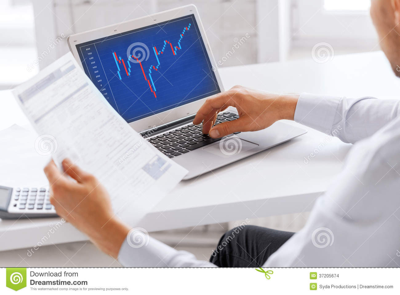 Businessman Working With Forex Chart In Office Stock ...