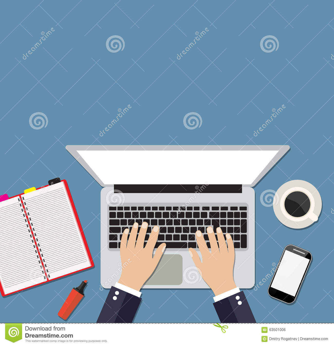 Businessman working at a white laptop hand on notebook for Copy design