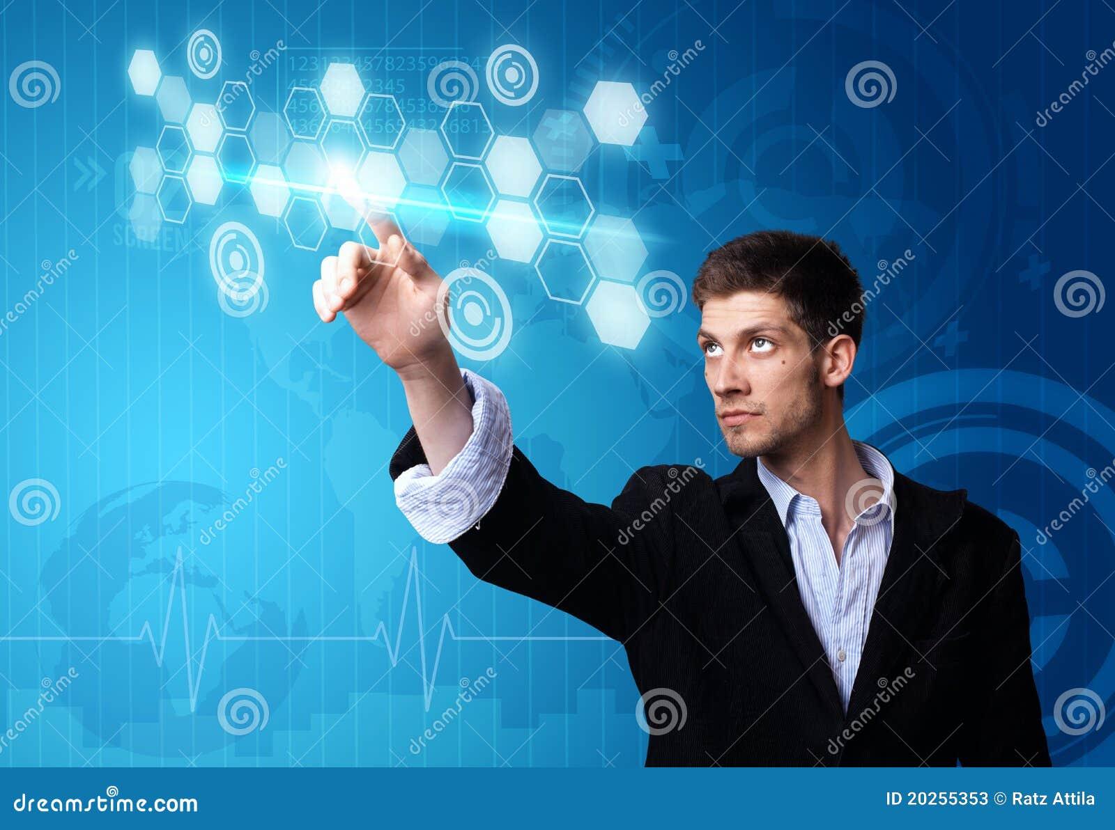 Businessman working on modern technology