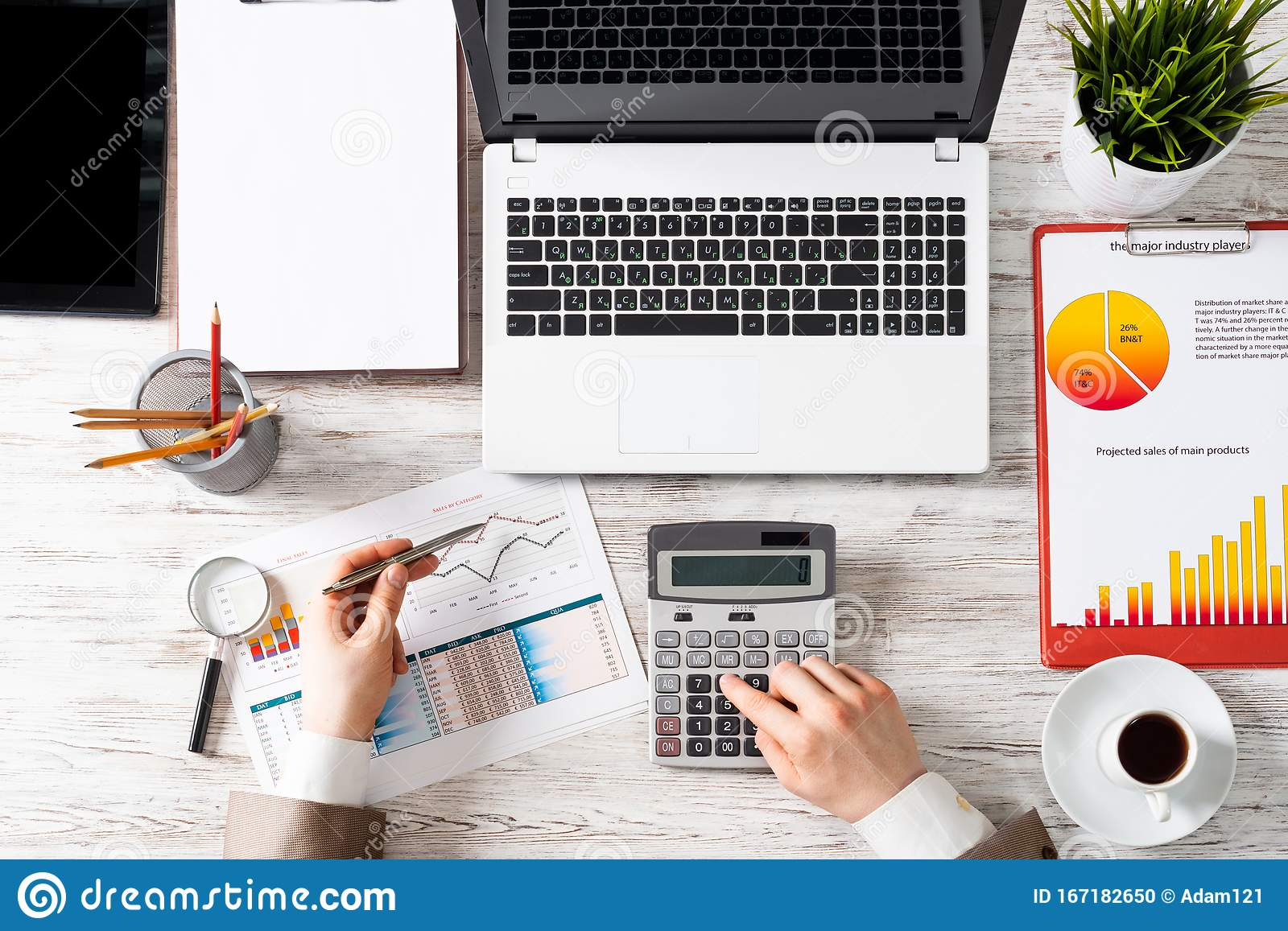 Businessman Working At Office Desk Stock Photo Image Of Financial Mockup 167182650