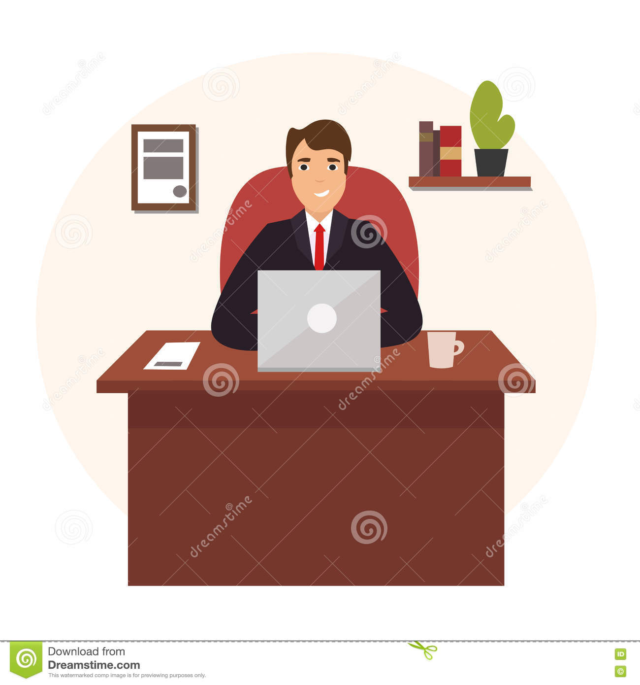 Businessman working at office table vector cartoon vector for Table design vector