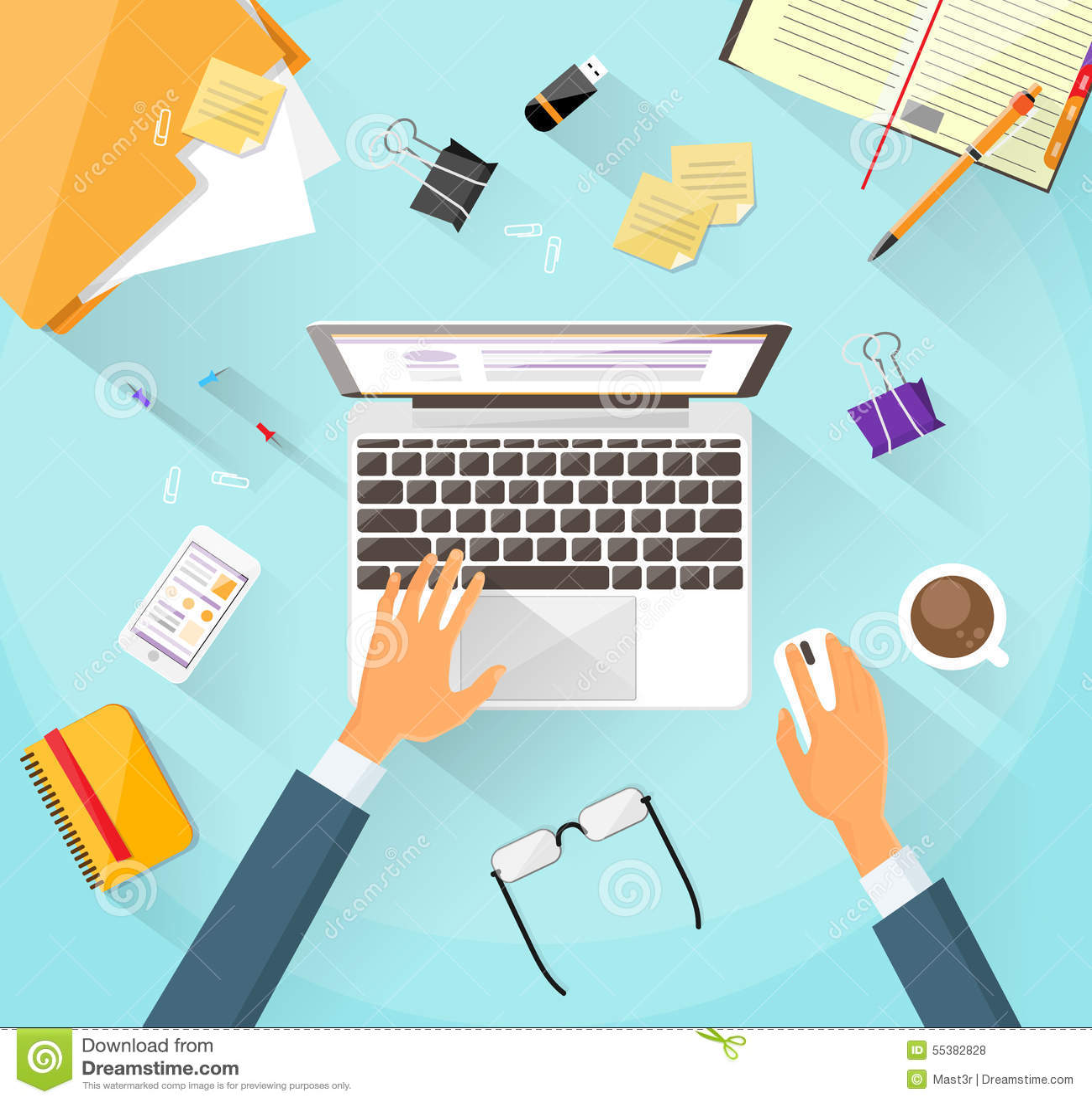 Businessman Workplace Desk Hands Working Laptop Stock