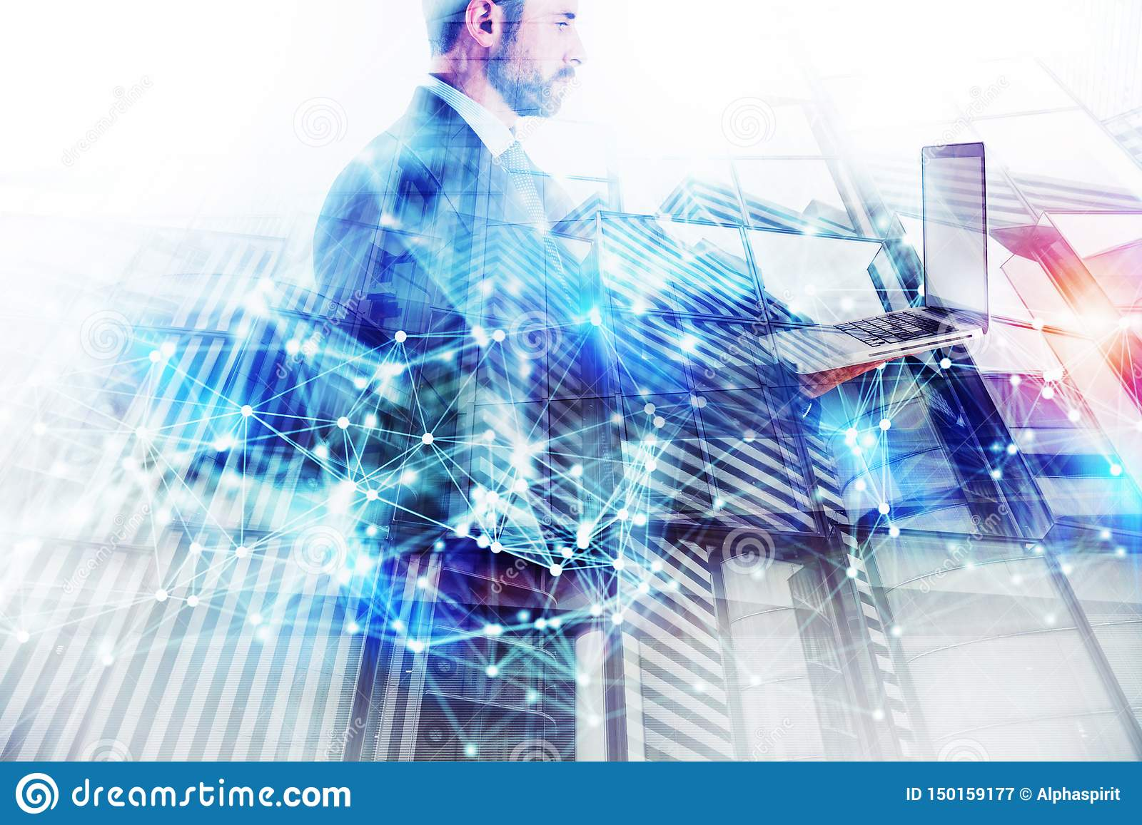 Businessman works with laptop. Concept of teamwork and partnership. double exposure with network effects
