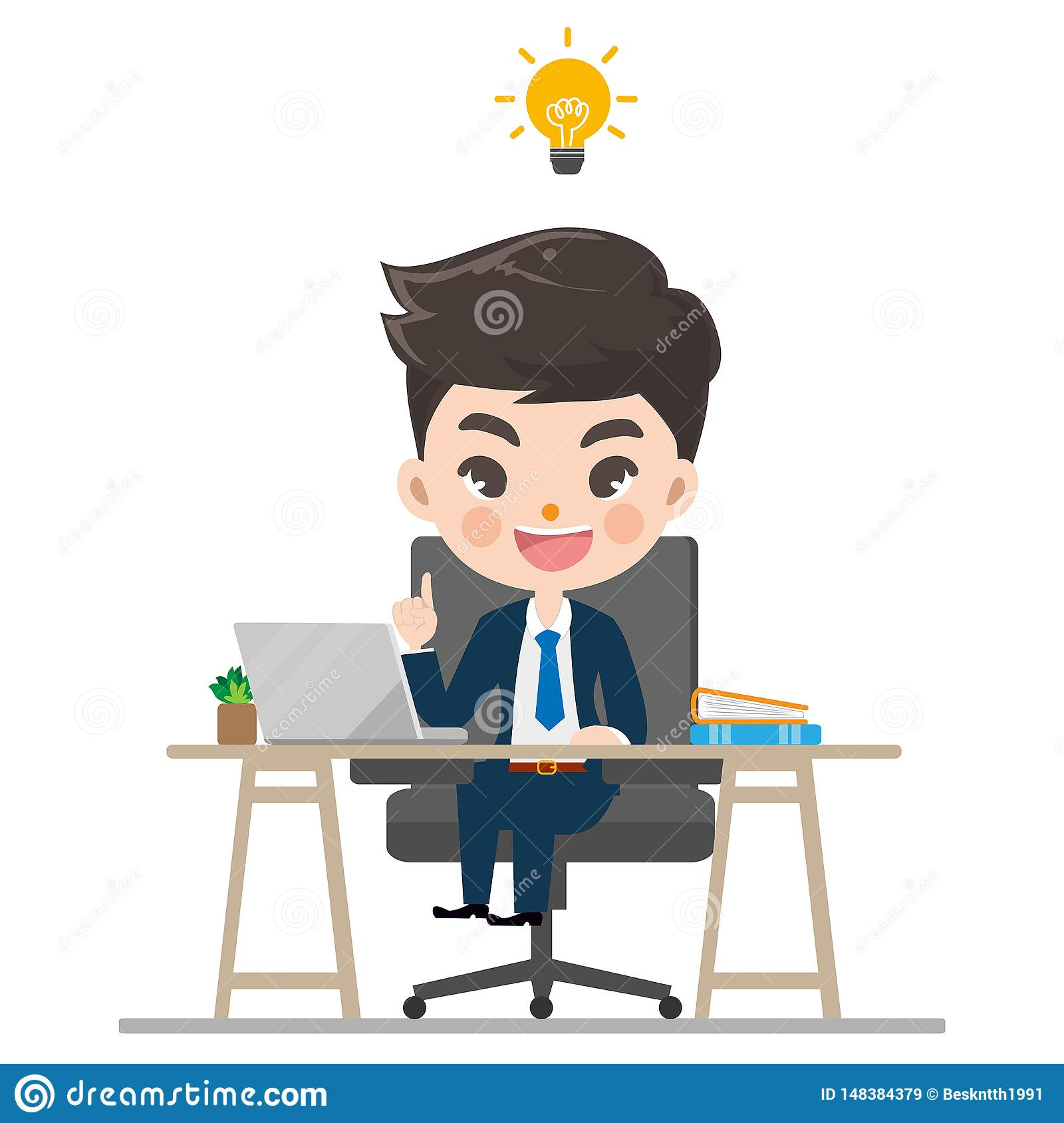 Businessman works and smile in the office.