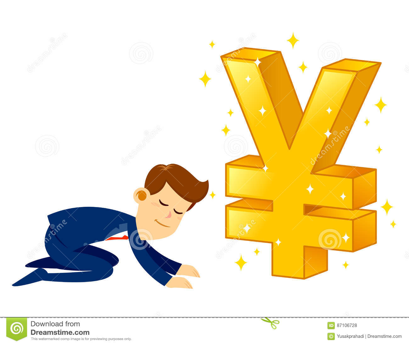 Businessman worshipping money golden japanese yen symbol stock businessman worshipping money golden japanese yen symbol biocorpaavc Choice Image