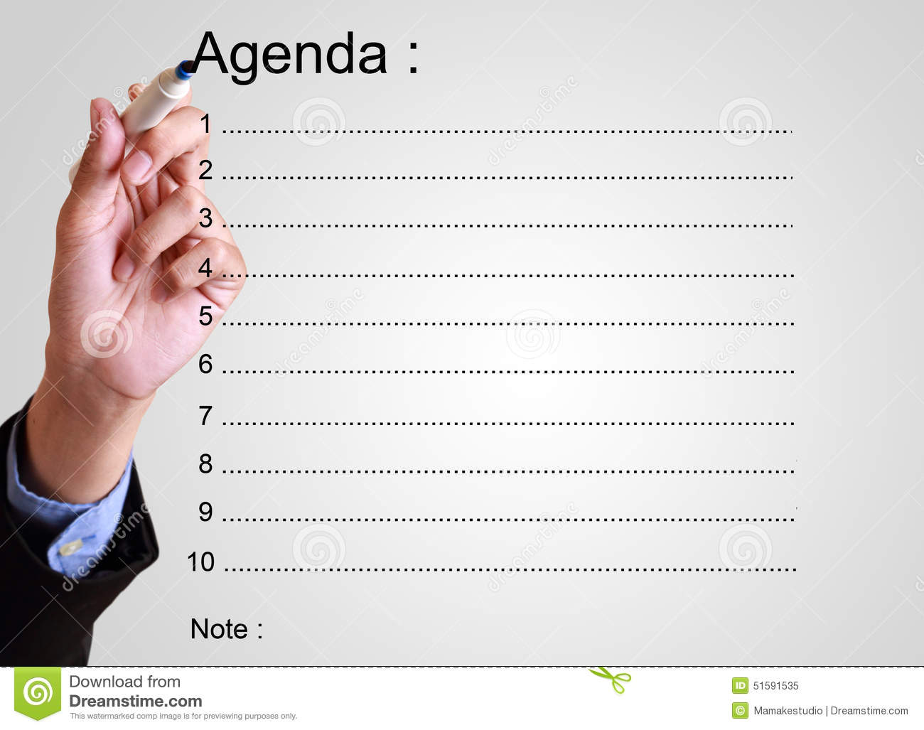 Businessman Writing Agenda  Layout Of An Agenda
