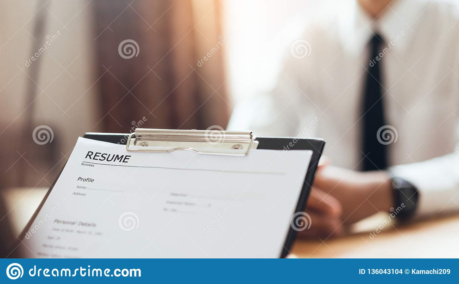 Businessman Writing Form Submit Resume Employer To Review