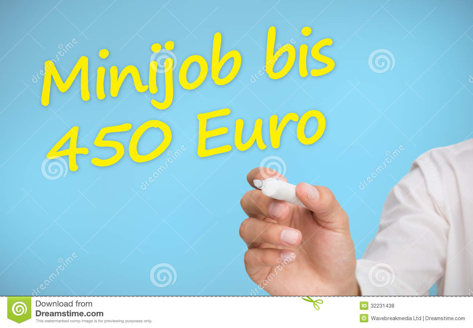 businessman writing in yellow minijob bis 450 euro stock illustration illustration of. Black Bedroom Furniture Sets. Home Design Ideas