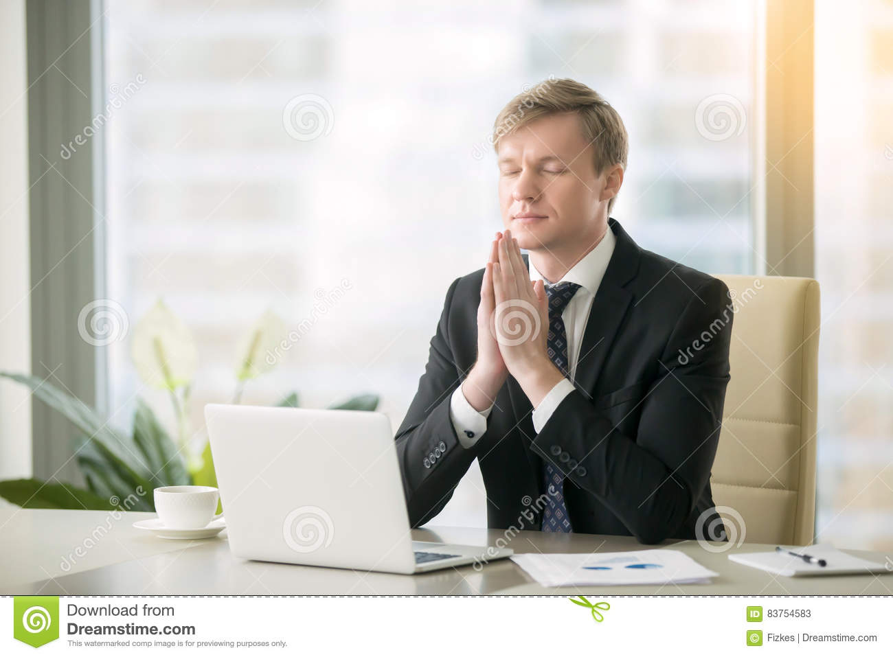 Businessman In Yoga Pose At The Office Desk Stock Image Image Of Meditating Laptop 83754583