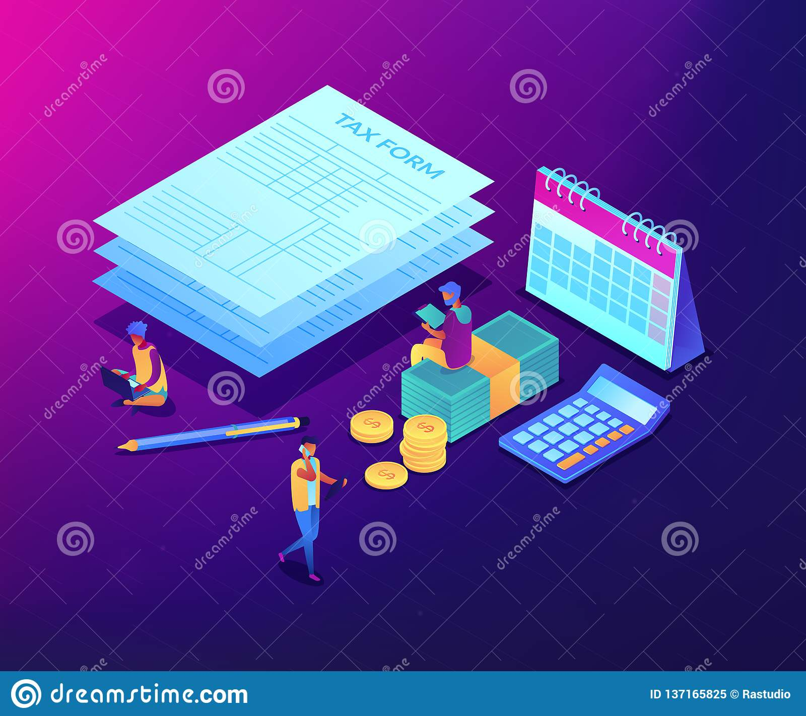 Tax Form Isometric 3D Concept Illustration. Stock Vector