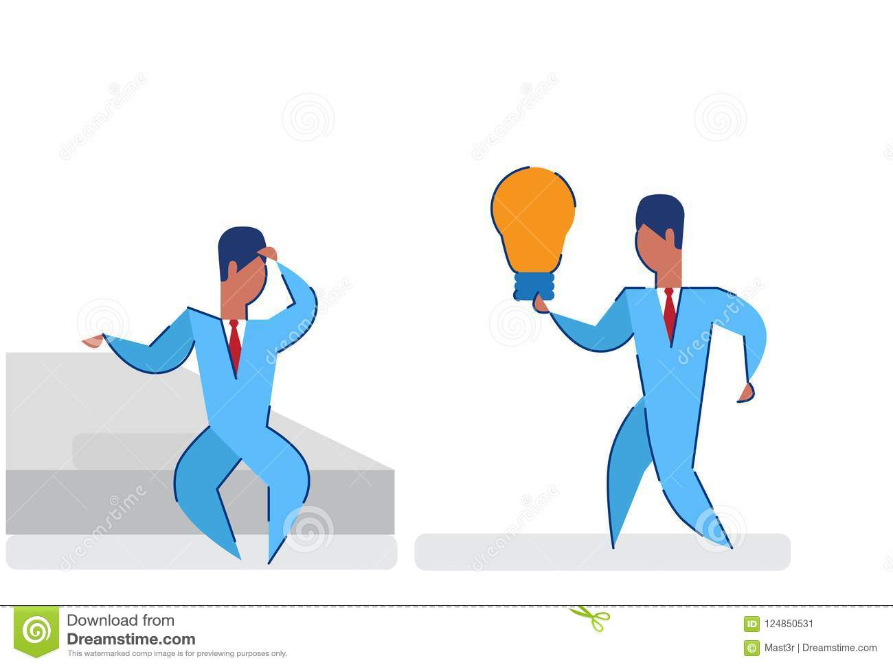 Businessmen brainstorming holding light lamp innovation concept two business men boss employee creative project startup