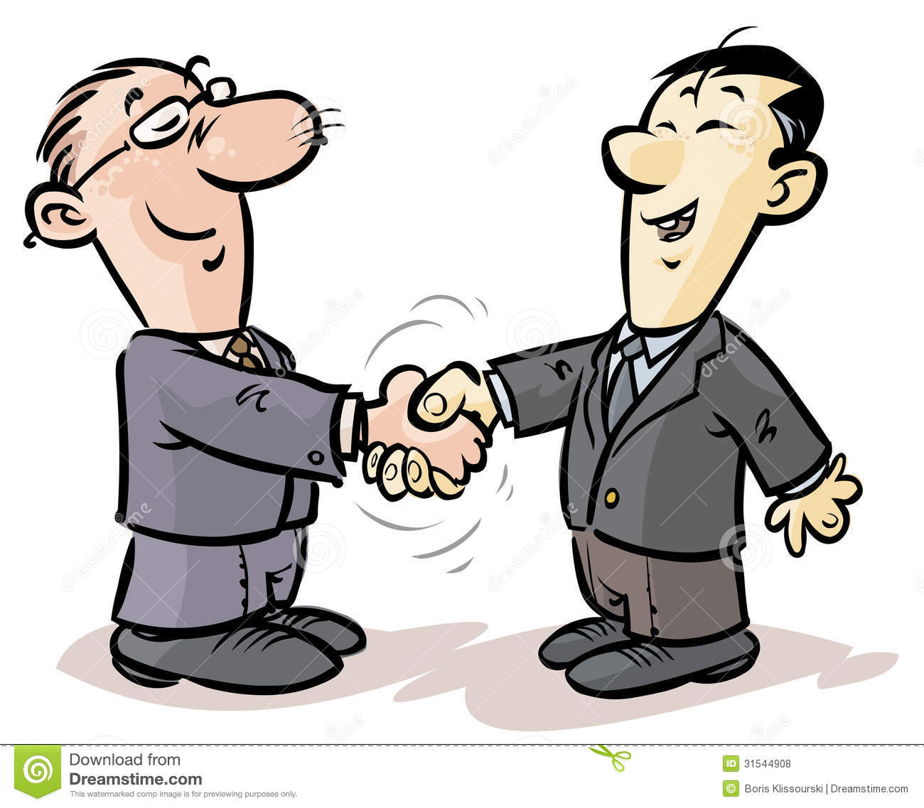 Cartoon illustration of a handshake of businessmen from different ...