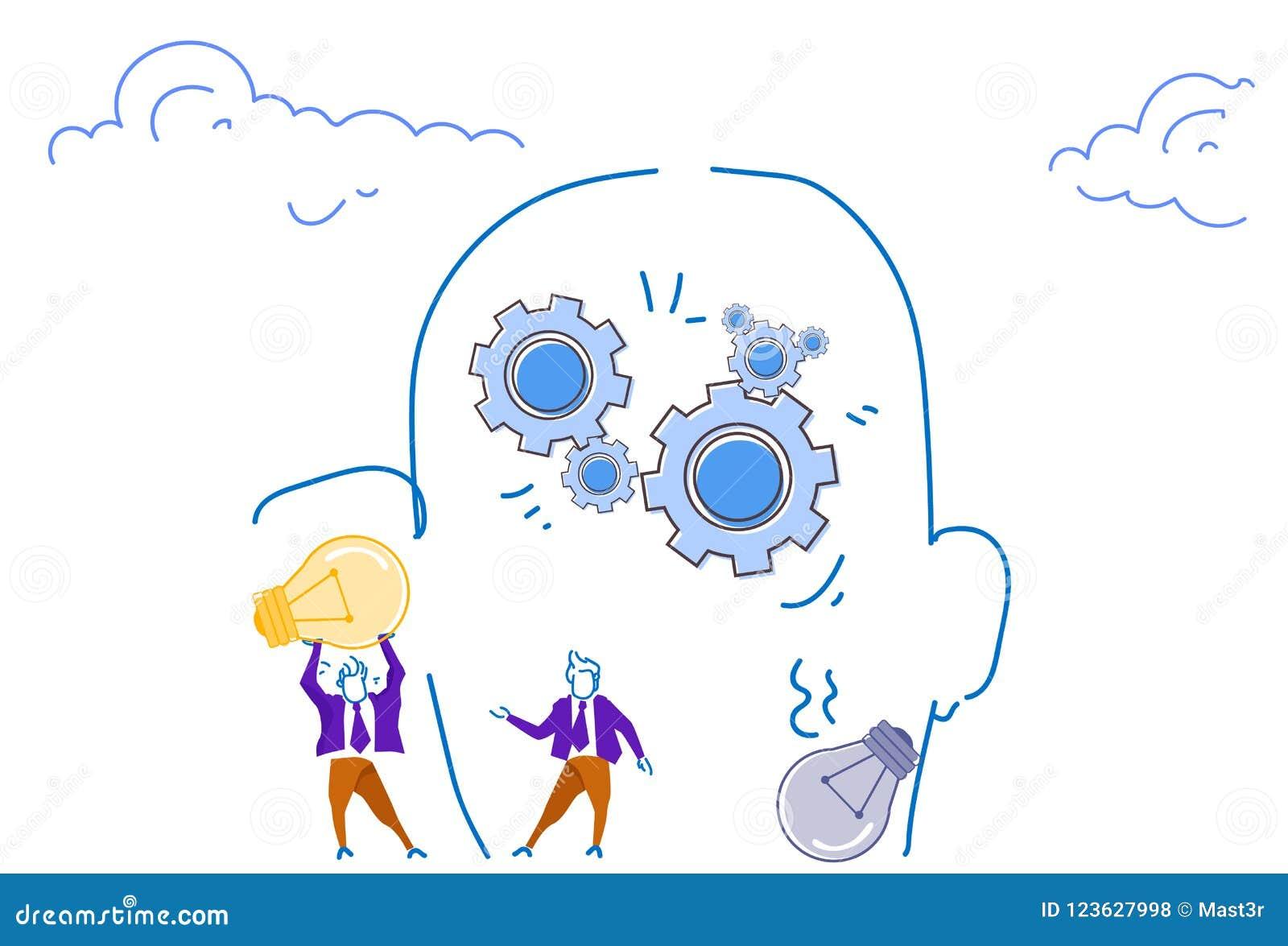 Businessmen holding light lamp human head silhouette gear wheels brainstorming process generate new idea teamwork