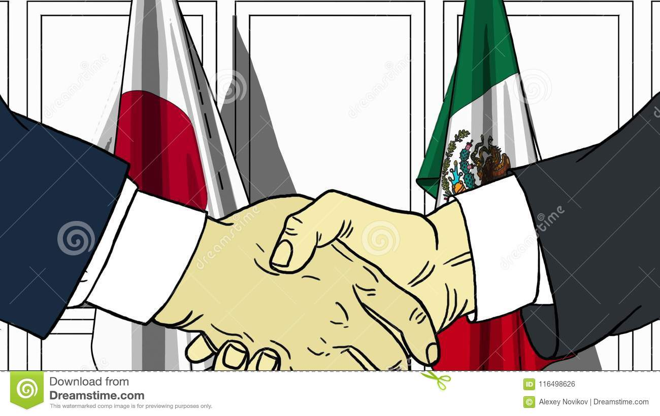 Businessmen Or Politicians Shaking Hands Against Flags Of Japan And