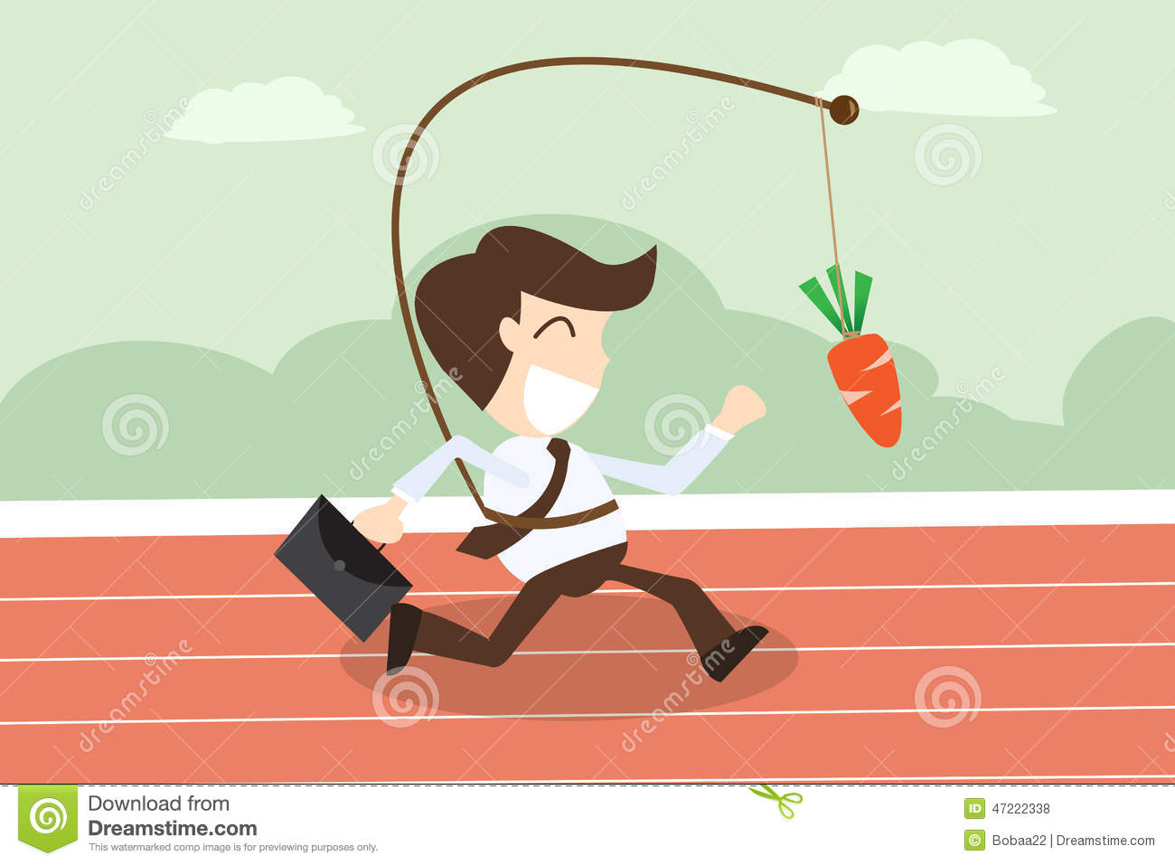 businessmen running with hanging carrot in motivation concept stock vector   image 47222338