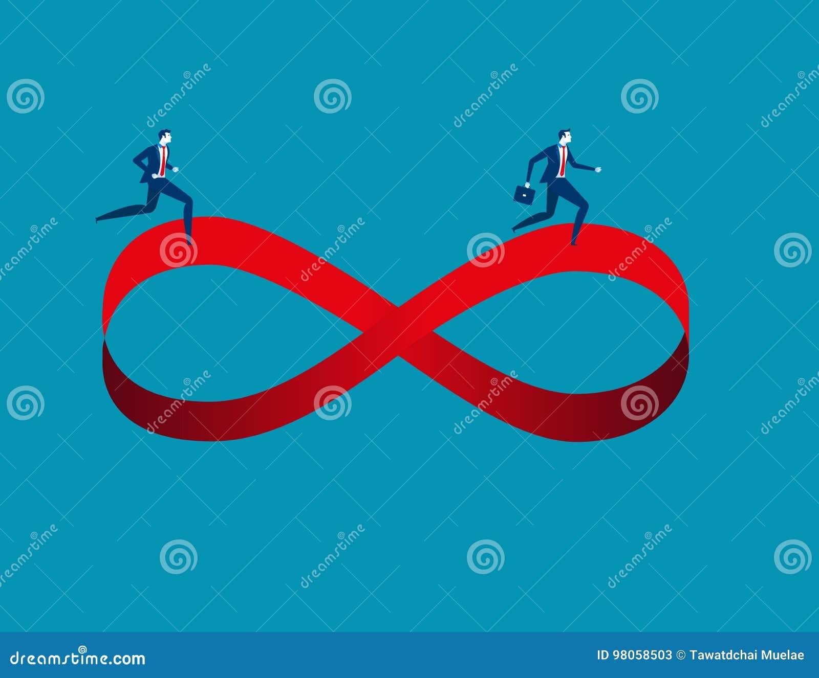 Businessmen Running On Infinity Symbol Concept Business Image I
