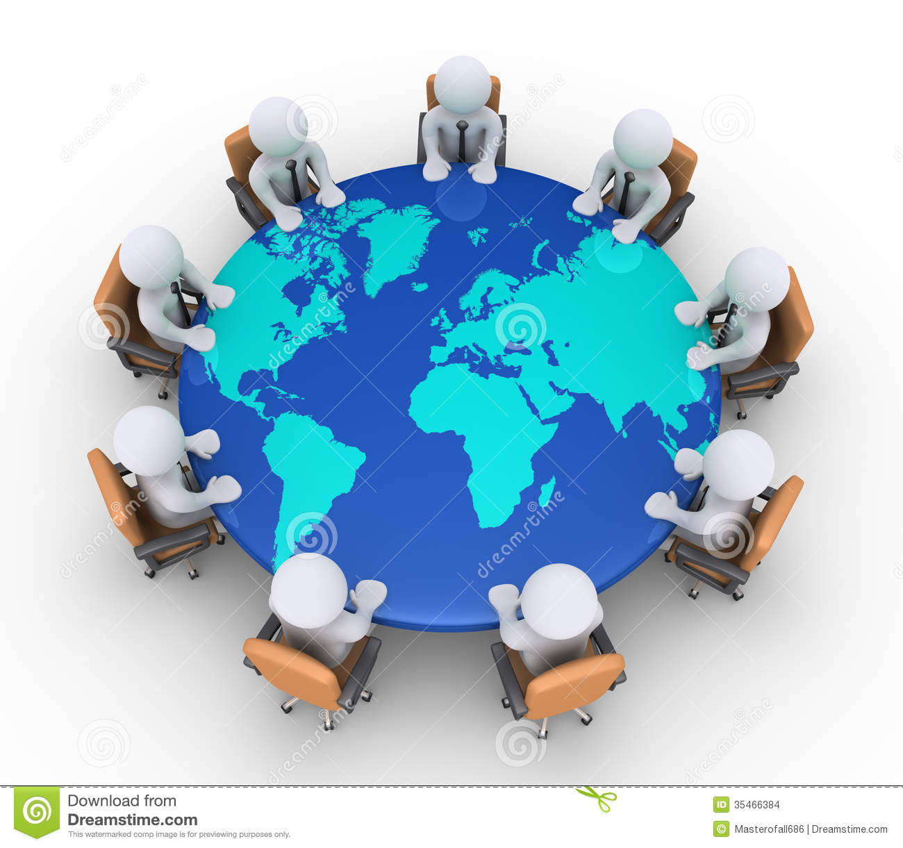 Businessmen Sitting On Chairs And Table With World Map Stock - Round world map image
