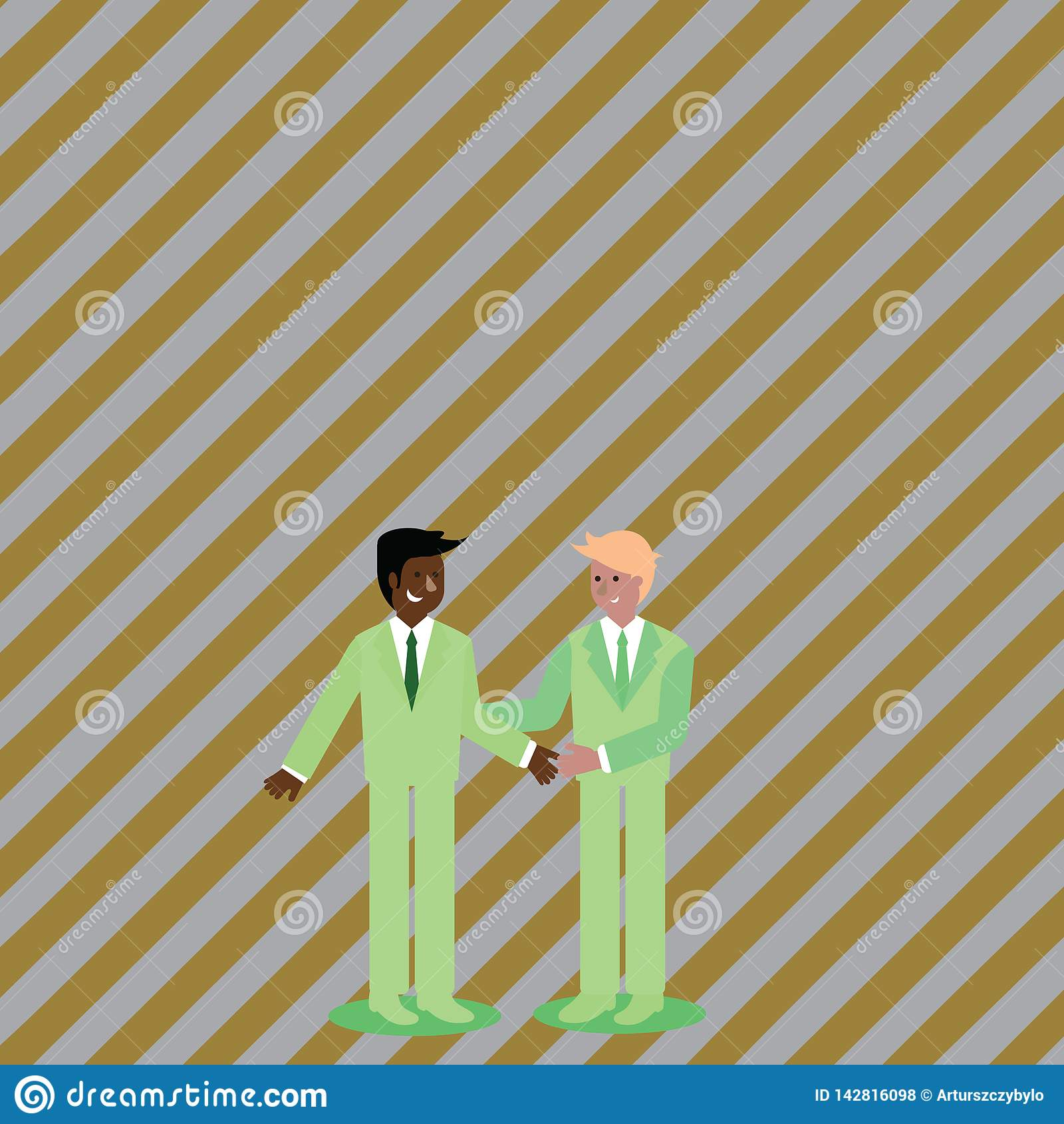 Businessmen Smiling, Standing and Handshaking. Two Men in Suit Greeting Each Other in Hand Holding Gesture. Creative