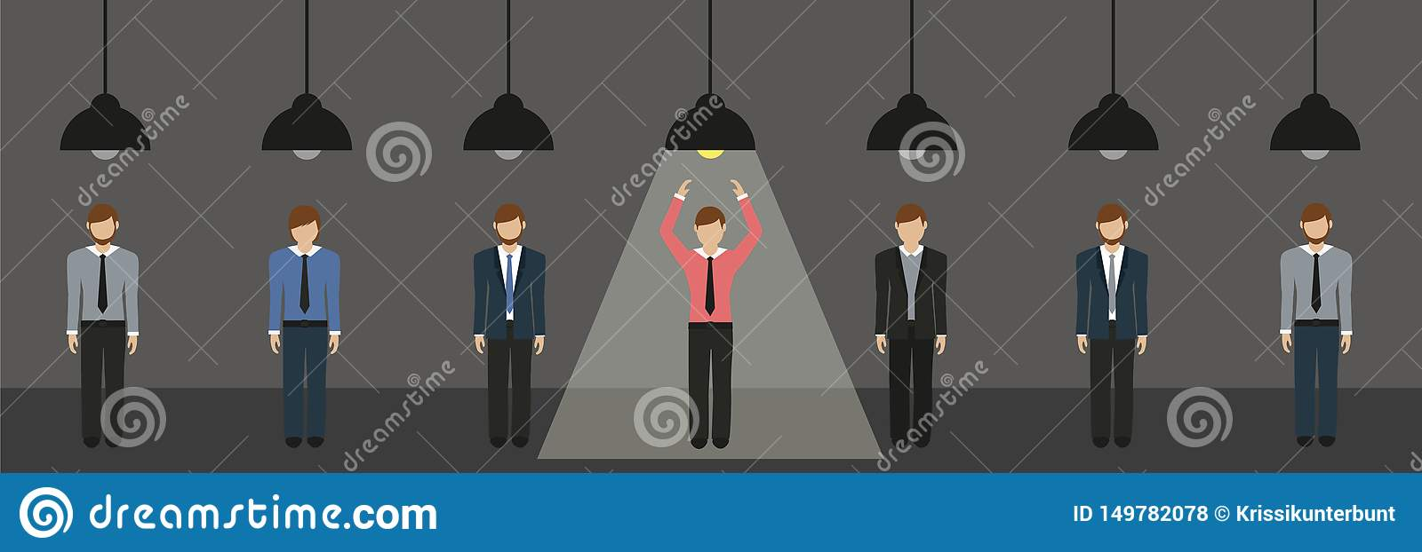 Businessmen are standing under lamps one switched on hanging lamp