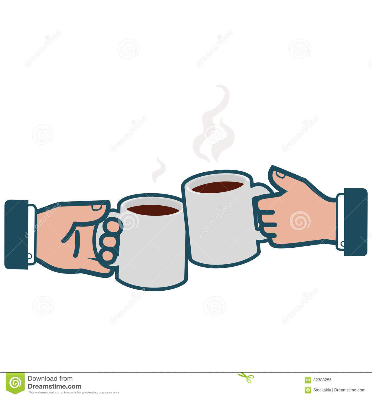 bc325c2e6d73 Vector iconic illustration of a two businessmen holding coffee mugs and  toasting