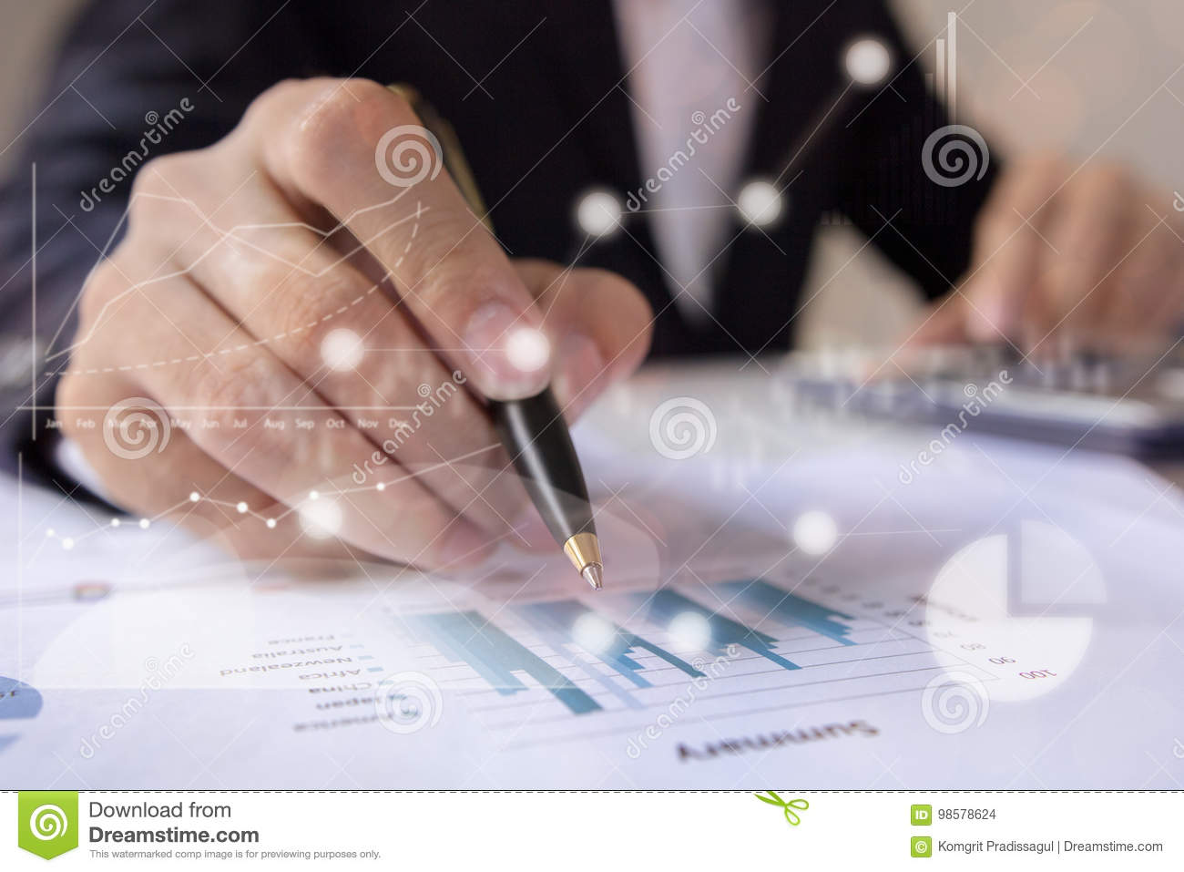 Businessmen working with graph data at office, Finance managers task, Concept business and financial investment
