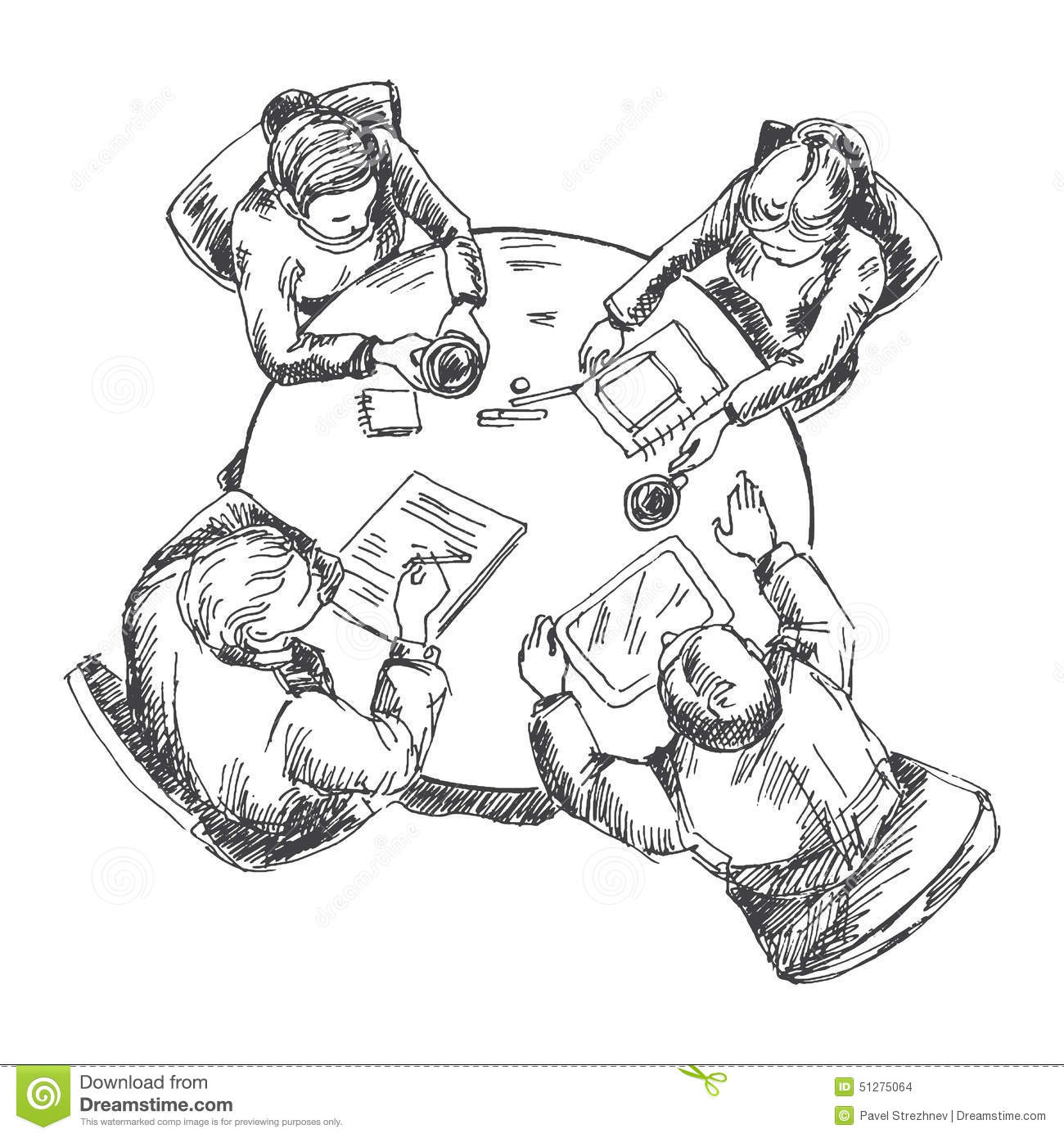 Businessmen Working Team At The Table Stock Vector - Illustration of