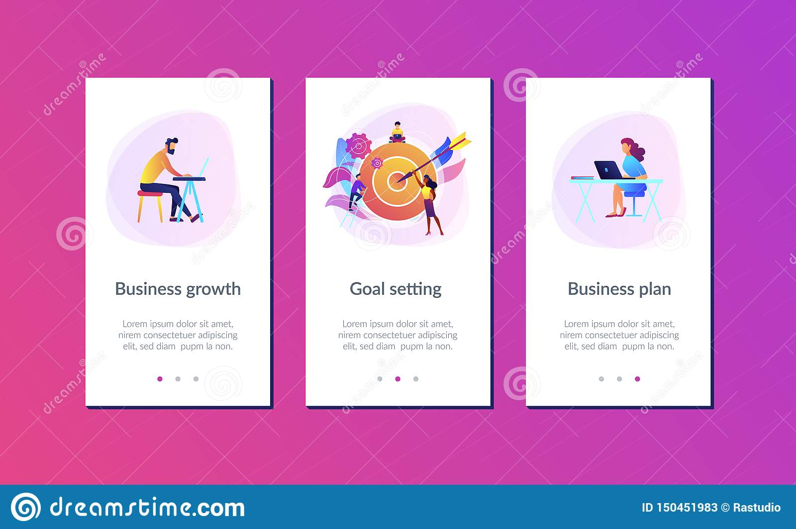 Goals And Objectives App Interface Template Stock Vector Illustration Of Strategy Goals 150451983