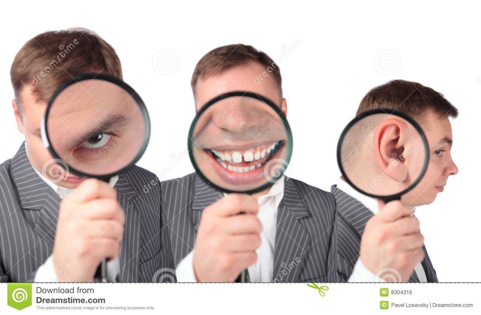 Businesspeople πιό magnifier στόμα ματιών αυτιών