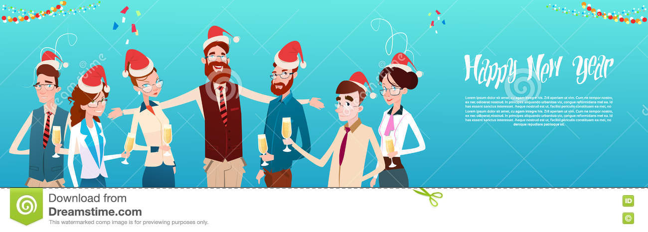 b82b1b82f1971 Businesspeople Celebrate Merry Christmas And Happy New Year Office Business  People Team Santa Hat Flat Vector Illustration
