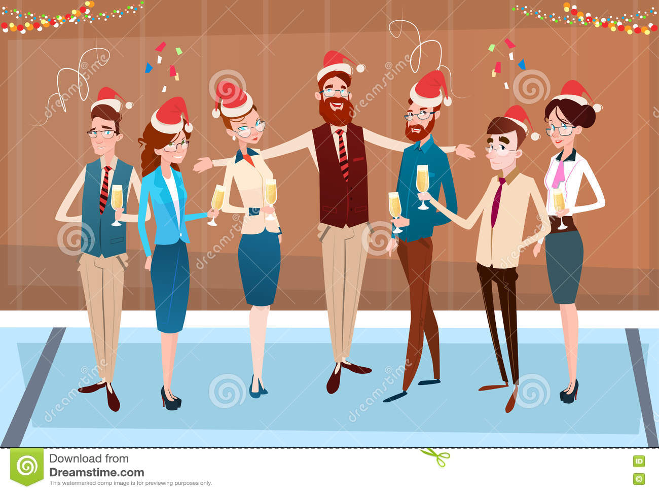 678a857ff6976 Businesspeople Celebrate Merry Christmas And Happy New Year Office Business  People Team Santa Hat