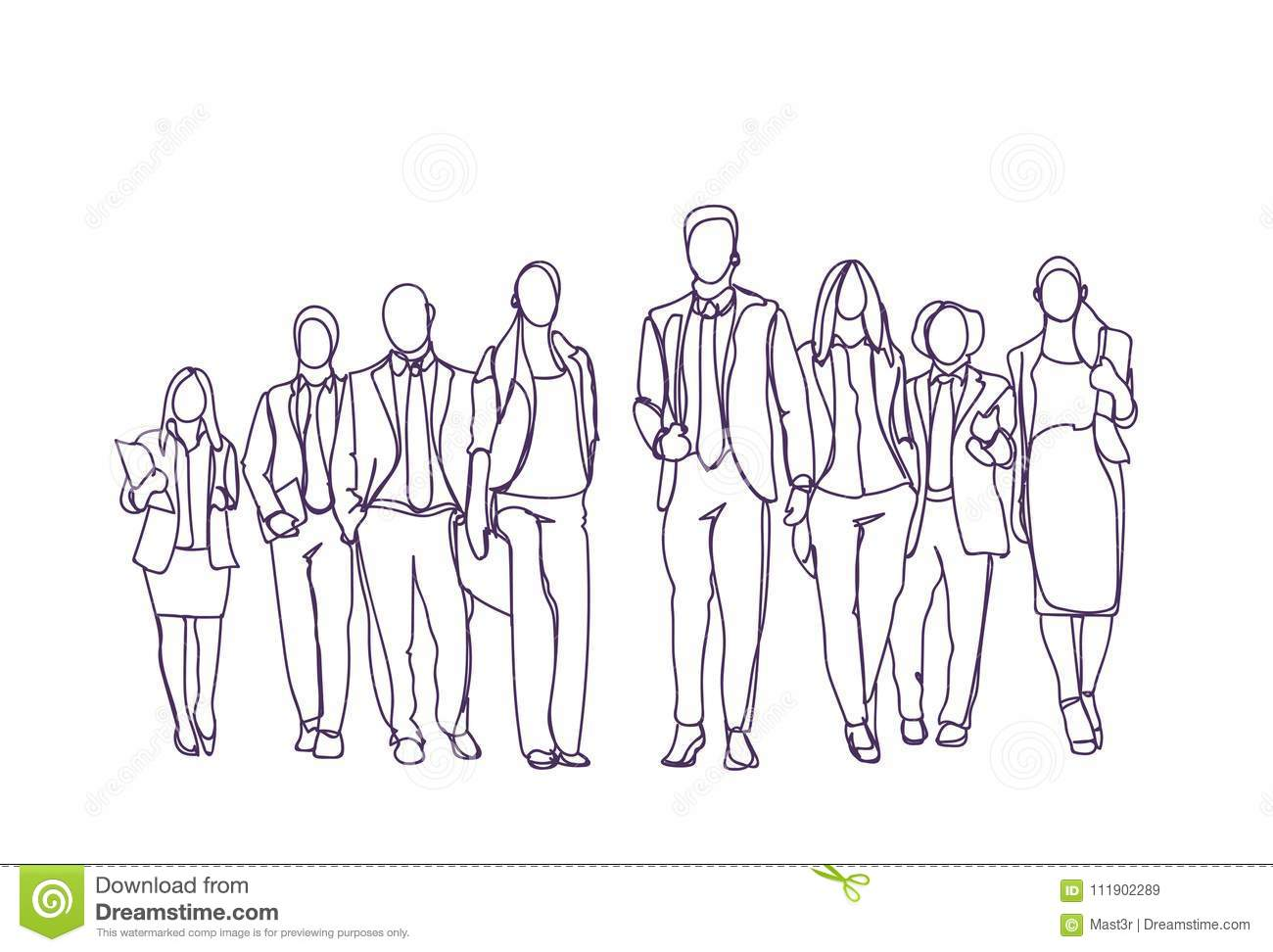 Businesspeople Group Hand Drawn Moving Forward Over White Background