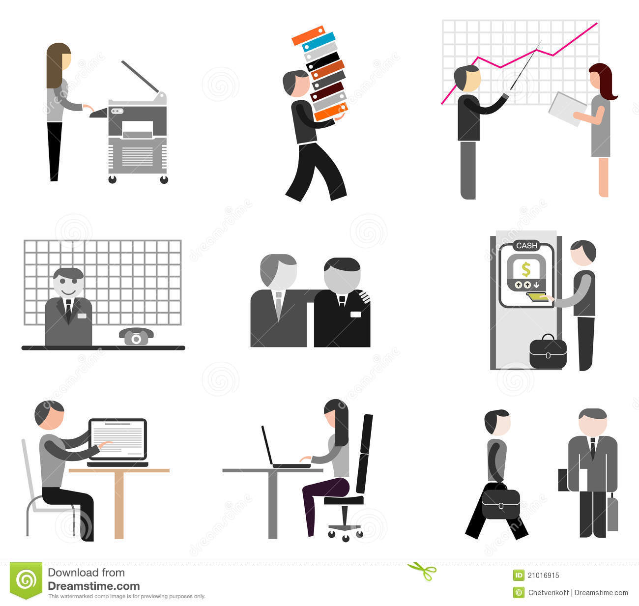 Royalty Free Stock Photo: Businesspeople - office icons. Image ...