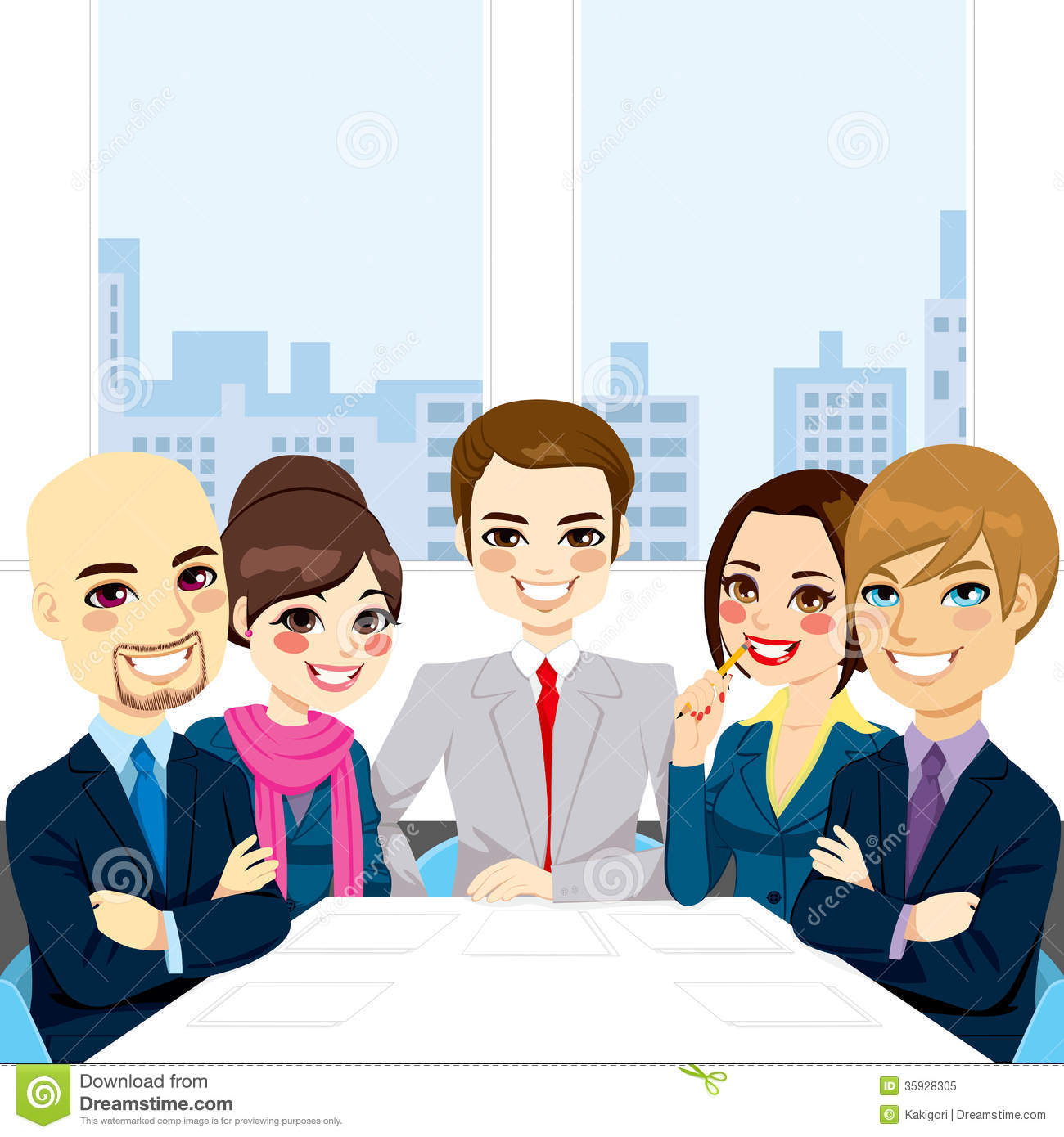Businesspeople Office Meeting Stock Vector - Illustration ...